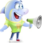 Little Dolphin Kid Cartoon Vector Character - Holding a Loudspeaker