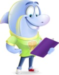Little Dolphin Kid Cartoon Vector Character - Holding a notepad