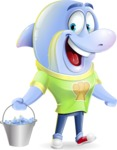 Little Dolphin Kid Cartoon Vector Character - Holding bucket with fish