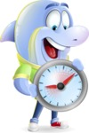 Little Dolphin Kid Cartoon Vector Character - Holding clock