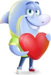 Little Dolphin Kid Cartoon Vector Character - Holding heart