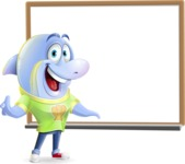Little Dolphin Kid Cartoon Vector Character - Making a Presentation on a Blank white board