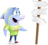 Little Dolphin Kid Cartoon Vector Character - on a Crossroad with sign pointing in all directions