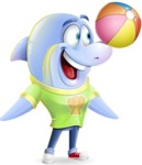 Little Dolphin Kid Cartoon Vector Character - Playing with beach ball