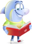 Little Dolphin Kid Cartoon Vector Character - Reading a book