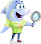 Little Dolphin Kid Cartoon Vector Character - Searching with magnifying glass
