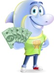 Little Dolphin Kid Cartoon Vector Character - Show me the Money