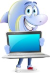 Little Dolphin Kid Cartoon Vector Character - Showing a laptop