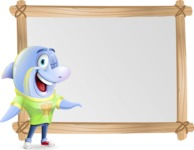 Little Dolphin Kid Cartoon Vector Character - Showing on Big whiteboard