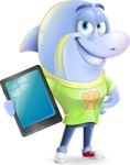 Little Dolphin Kid Cartoon Vector Character - Showing tablet