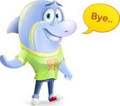 Little Dolphin Kid Cartoon Vector Character - Waving for Goodbye with a hand
