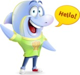 Little Dolphin Kid Cartoon Vector Character - Waving for Hello with a hand