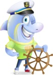 Little Dolphin Kid Cartoon Vector Character - Wearing captain hat with ship wheel