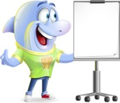 Little Dolphin Kid Cartoon Vector Character - with a Blank Presentation board