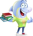 Little Dolphin Kid Cartoon Vector Character - with Books