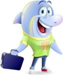 Little Dolphin Kid Cartoon Vector Character - with Briefcase