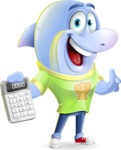 Little Dolphin Kid Cartoon Vector Character - with Calculator