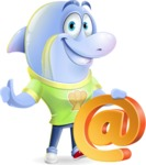 Little Dolphin Kid Cartoon Vector Character - with Email sign