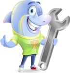 Little Dolphin Kid Cartoon Vector Character - with Repairing tool wrench