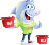 Little Dolphin Kid Cartoon Vector Character - with Sale boxes