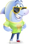 Little Dolphin Kid Cartoon Vector Character - with Sunglasses
