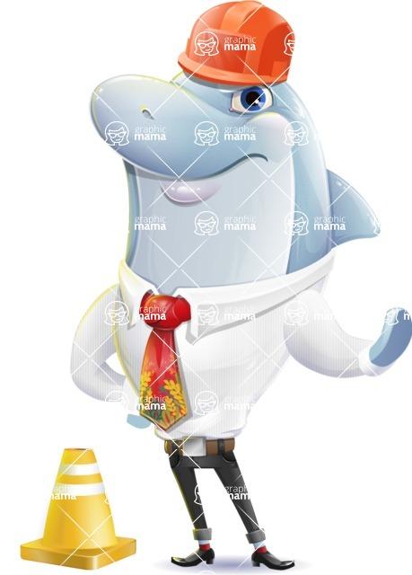 Smart Business Dolphin Cartoon Character - as a Construction worker