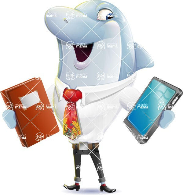 Smart Business Dolphin Cartoon Character - Choosing between Book and Tablet