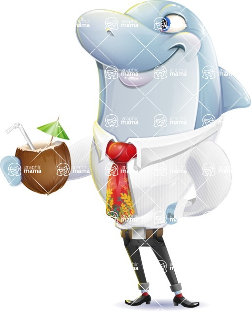 Smart Business Dolphin Cartoon Character - Drinking coconut cocktail