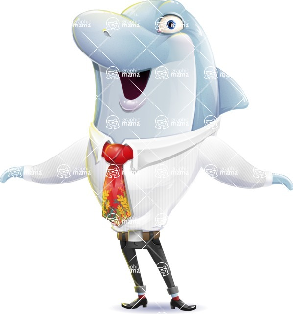 Smart Business Dolphin Cartoon Character - Feeling Shocked