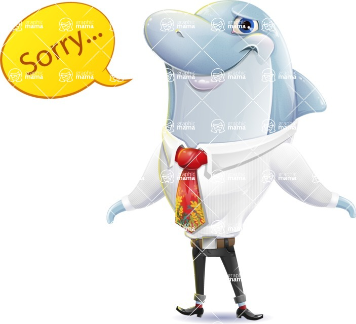 Smart Business Dolphin Cartoon Character - Feeling sorry