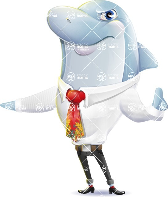 Smart Business Dolphin Cartoon Character - Finger pointing with angry face