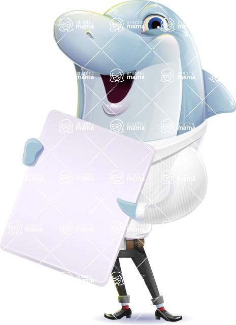 Smart Business Dolphin Cartoon Character - Holding a Blank banner