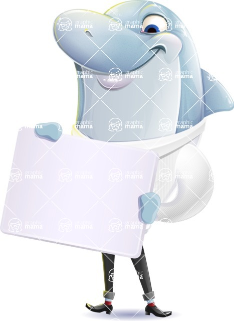 Smart Business Dolphin Cartoon Character - Holding a Blank sign