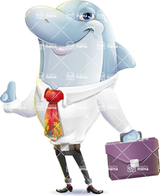 Smart Business Dolphin Cartoon Character - Holding a briefcase