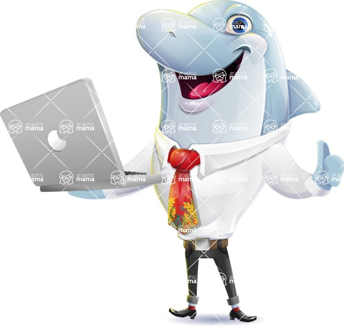 Smart Business Dolphin Cartoon Character - Holding a laptop