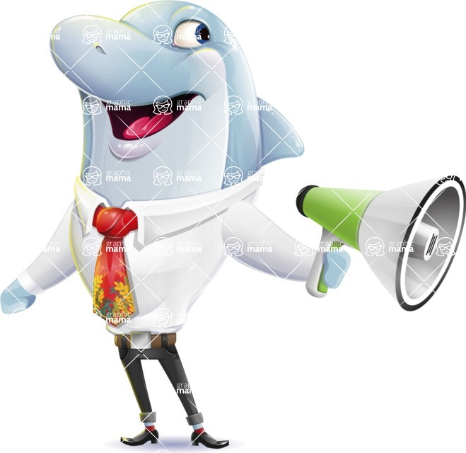 Smart Business Dolphin Cartoon Character - Holding a Loudspeaker