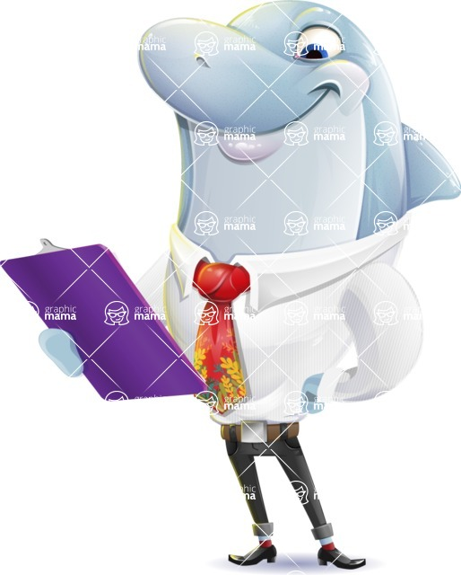 Smart Business Dolphin Cartoon Character - Holding a notepad