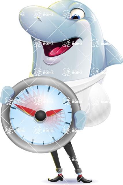 Smart Business Dolphin Cartoon Character - Holding clock
