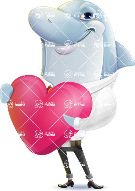 Smart Business Dolphin Cartoon Character - Holding heart