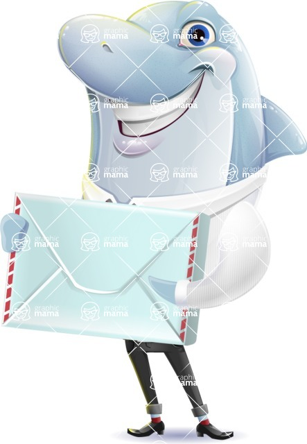 Smart Business Dolphin Cartoon Character - Holding mail envelope