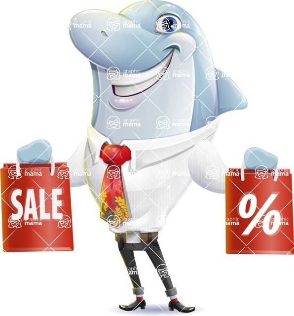 Smart Business Dolphin Cartoon Character - Holding shopping bags