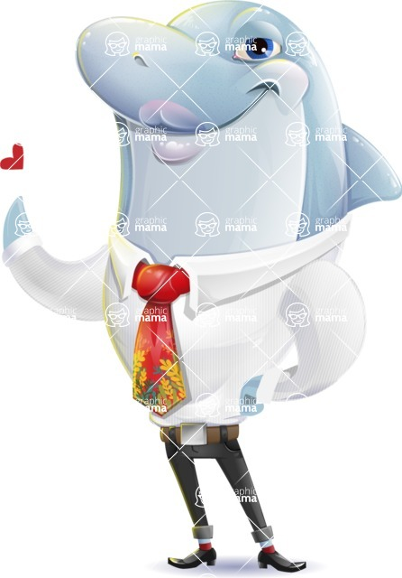 Smart Business Dolphin Cartoon Character - Making a Duckface for a selfie