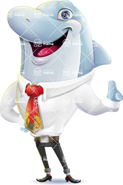 Smart Business Dolphin Cartoon Character - Making a point