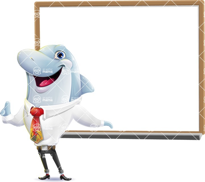 Smart Business Dolphin Cartoon Character - Making a Presentation on a Blank white board