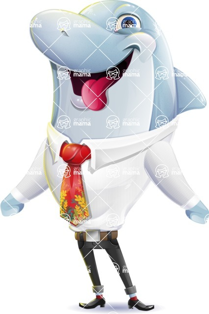 Smart Business Dolphin Cartoon Character - Making Funny face