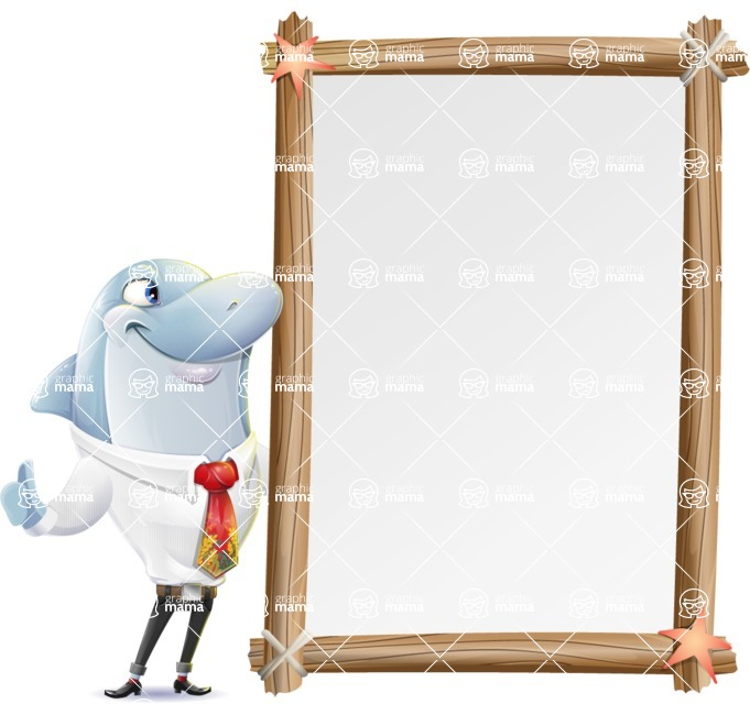 Smart Business Dolphin Cartoon Character - Making peace sign with Big Presentation board