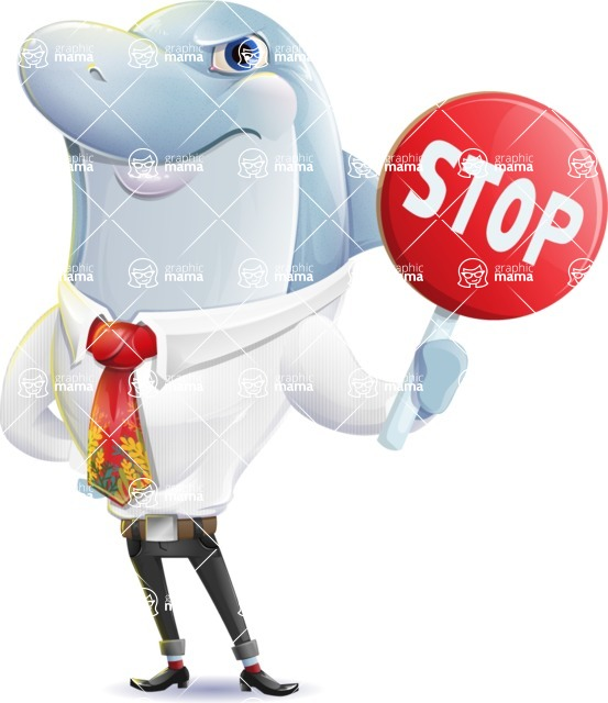 Smart Business Dolphin Cartoon Character - Making stop with a hand