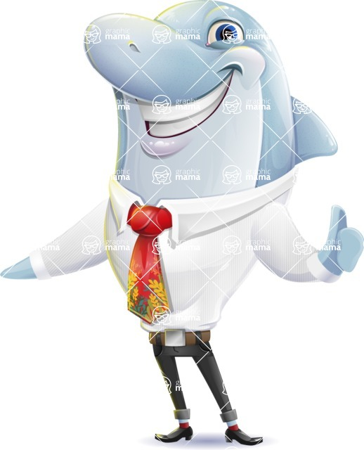Smart Business Dolphin Cartoon Character - Making Thumbs Up