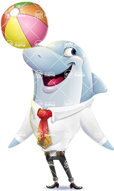 Smart Business Dolphin Cartoon Character - Playing with beach ball