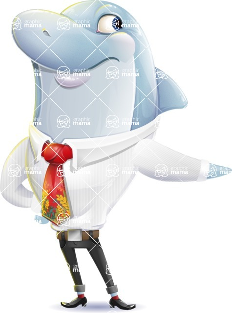 Smart Business Dolphin Cartoon Character - Pointing with a fnger